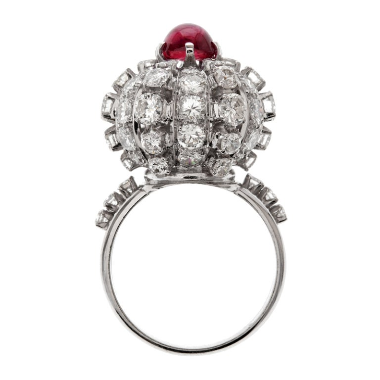 Women's Star Ruby Diamond Stylized Dome Platinum Ring For Sale