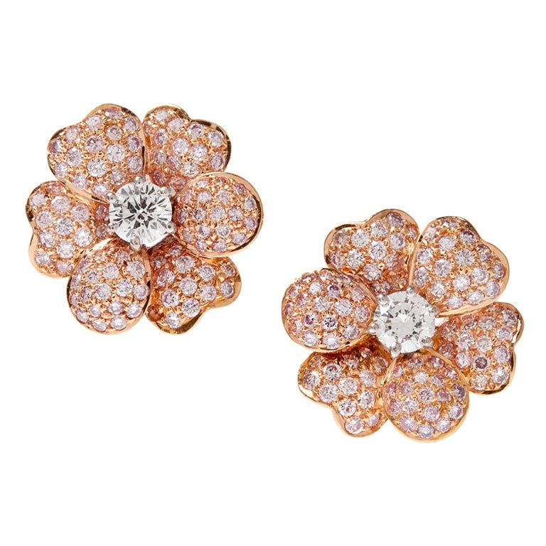 Pink Diamond White Diamond Yellow Gold Earrings For Sale