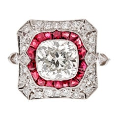 Cushion Cut Diamond Ring with Ruby Accents