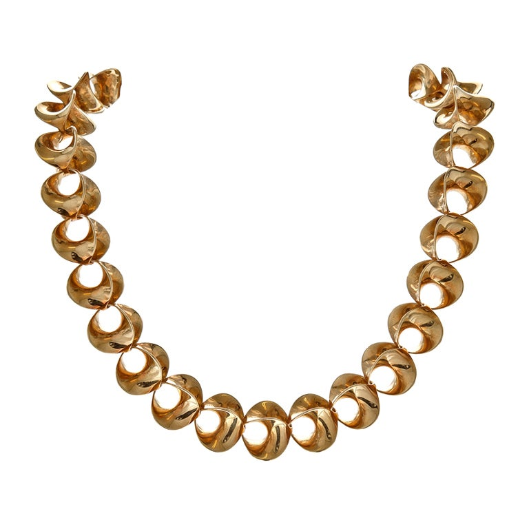 Incredible 1983 Handmade Yellow Gold Stylized Necklace signed Sean Gilson For Sale