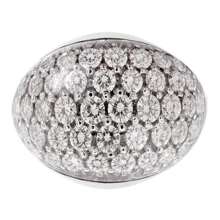 Unique Diamond Dome Crystal Italian Gold Ring