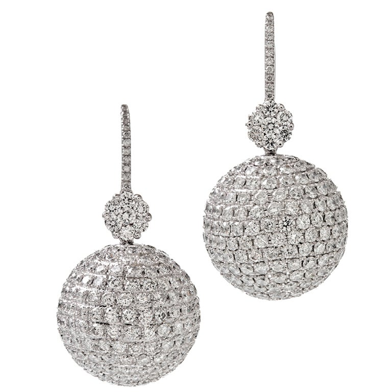 "Extra Fine Diamond ""Disco Ball"" Platinum Earrings 1"