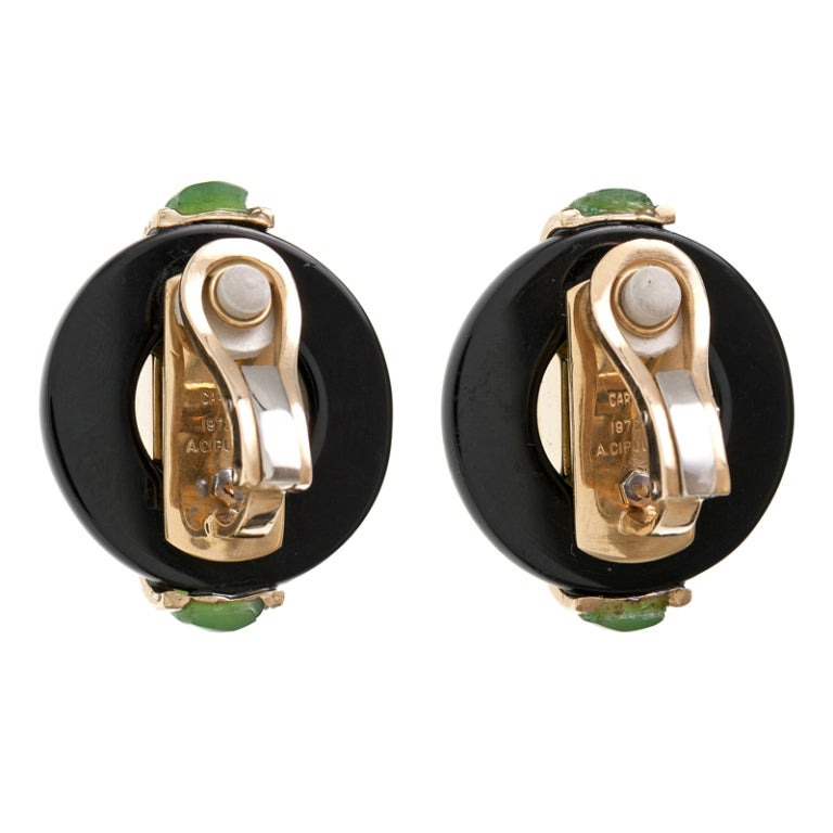 "CARTIER ""Cipullo"" Jade Onyx Yellow Gold Earrings 3"