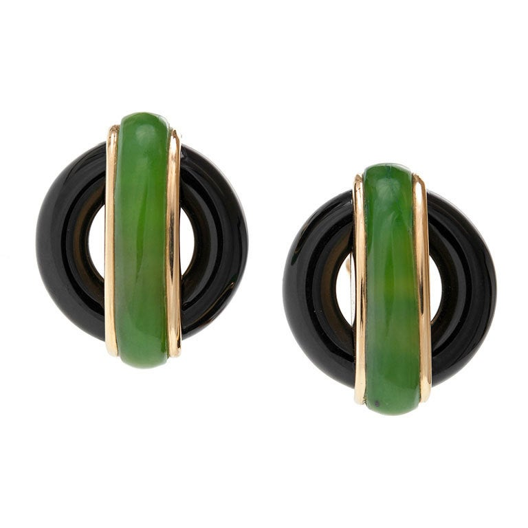 "CARTIER ""Cipullo"" Jade Onyx Yellow Gold Earrings 1"