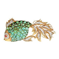 Green & Pink Tourmaline Diamond Yellow Gold Tropical Fish Brooch