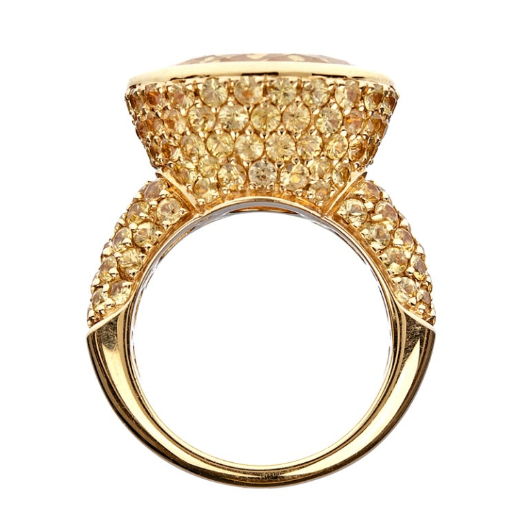 citrine sapphire yellow gold ring image 2