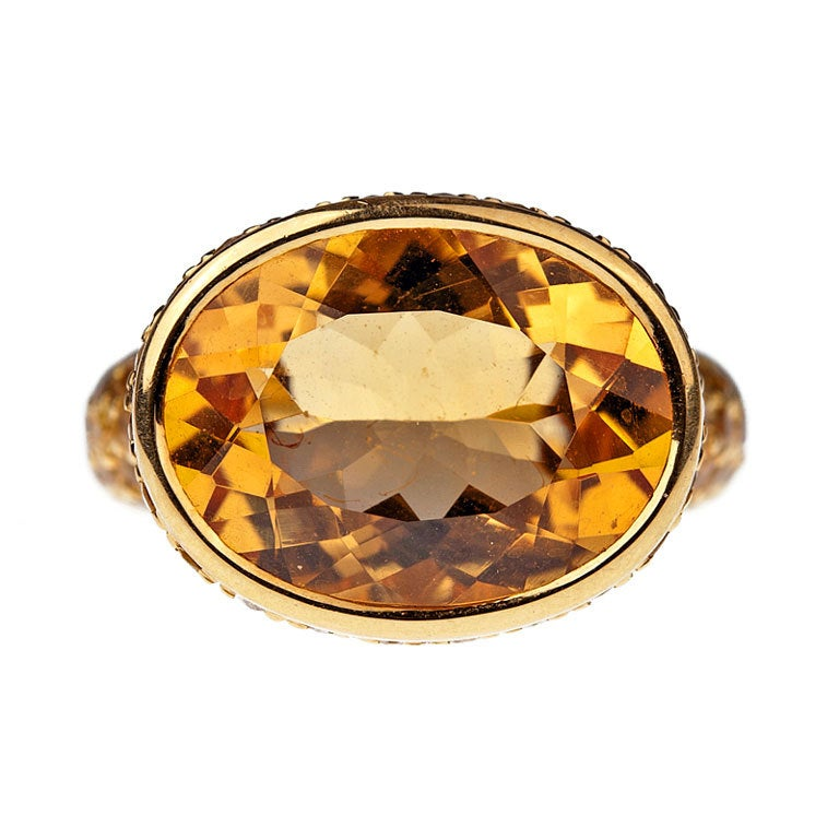 citrine sapphire yellow gold ring for sale at 1stdibs