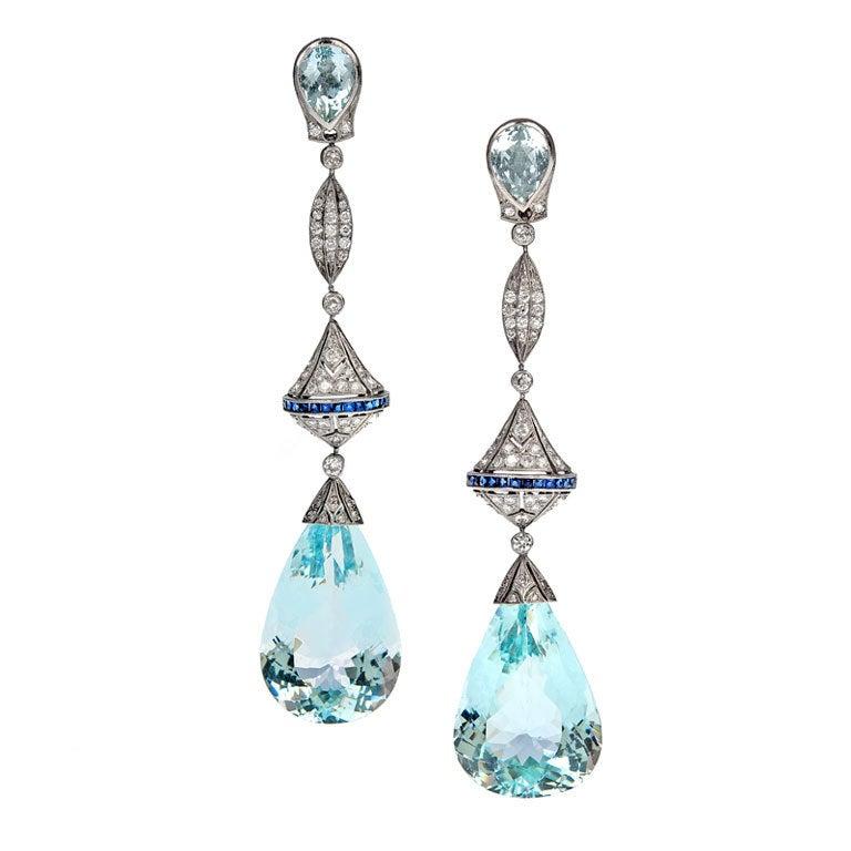 Aquamarine Diamond Sapphire Platinum Long Dangle Earrings