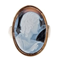 English Antique Cameo Agate Yellow Gold Ring