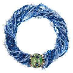 Sapphire Emerald Diamond Yellow Gold Multistrand Necklace
