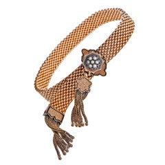 Victorian Tassel Seed Pearl Black Enamel Slide Bracelet