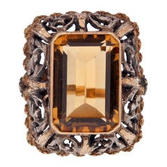 Victorian Citrine Silver over Yellow Gold Ring