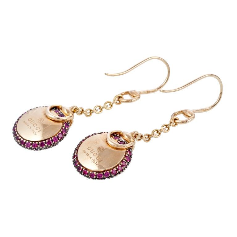 GUCCI Ruby Yellow Gold Dangle Earrings 2
