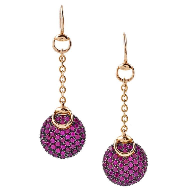 GUCCI Ruby Yellow Gold Dangle Earrings 1