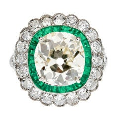 4.30ct Old European Cushion Cut Diamond Emerald 'Halo' Ring