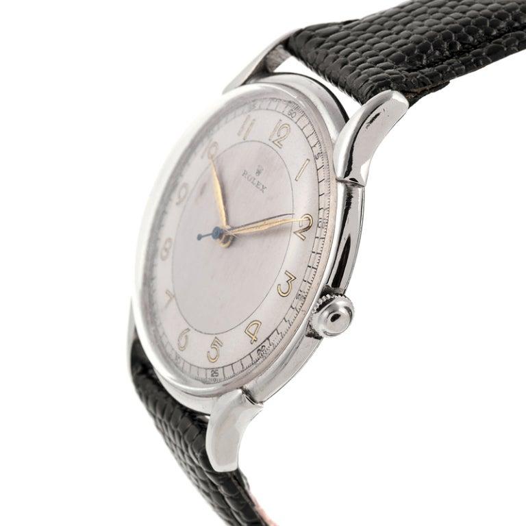 "Rolex Stainless Steel ""Bull's Eye"" Dial l Stylized Wristwatch Ref  4498 2"