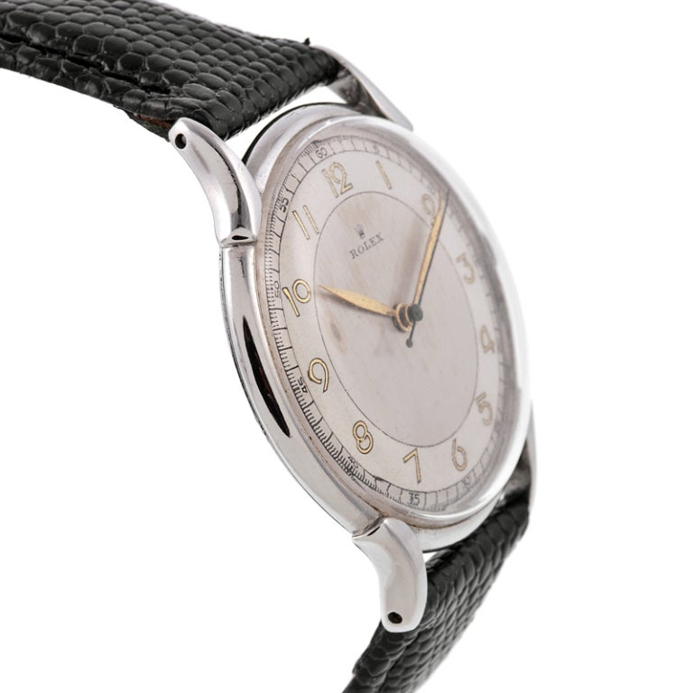 "Rolex Stainless Steel ""Bull's Eye"" Dial l Stylized Wristwatch Ref  4498 3"