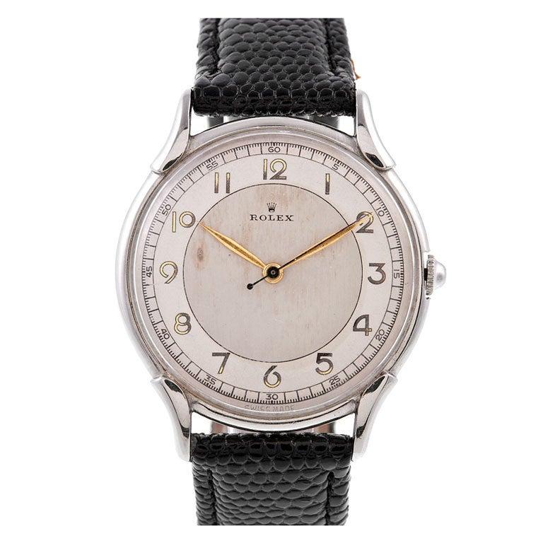 "Rolex Stainless Steel ""Bull's Eye"" Dial l Stylized Wristwatch Ref  4498 1"