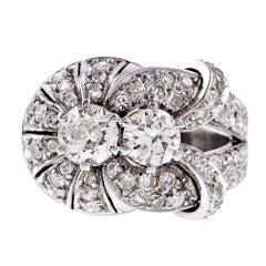 Retro Old European Cut Diamond Platinum Ring