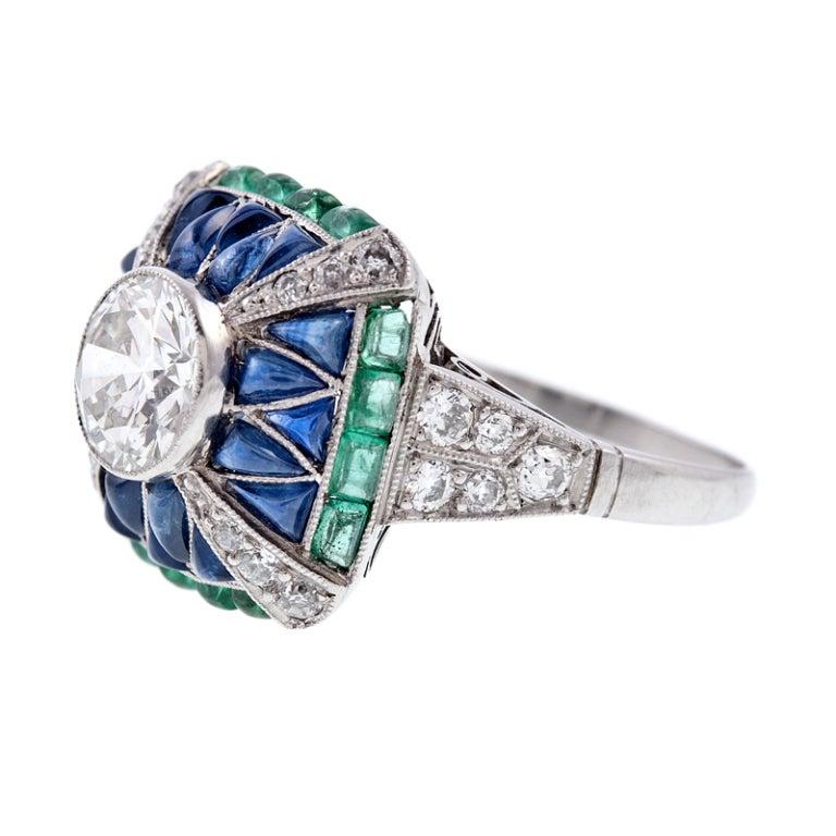 Fine Old European Cut Diamond Emerald Sapphire Handmade Ring 2