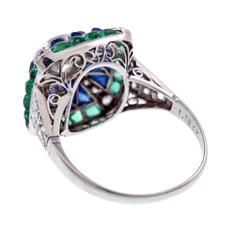Fine Old European Cut Diamond Emerald Sapphire Handmade Ring 3