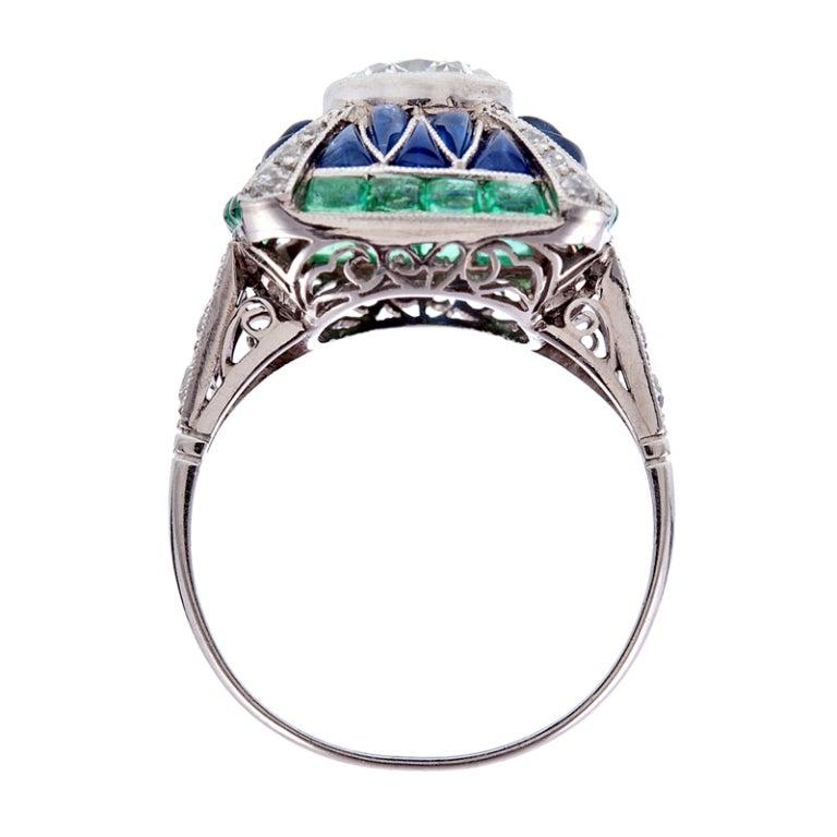Fine Old European Cut Diamond Emerald Sapphire Handmade Ring 4