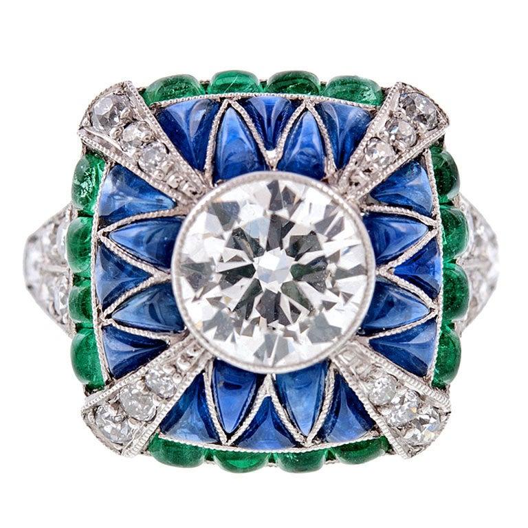 Fine Old European Cut Diamond Emerald Sapphire Handmade Ring 1