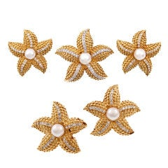 Pearl Diamond Gold Earring and Three Brooch Suite