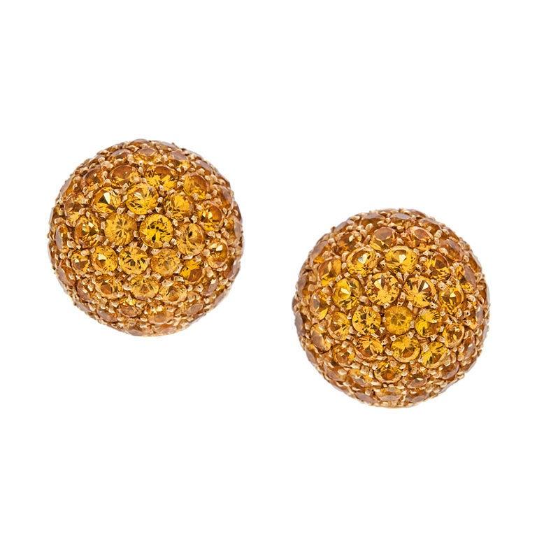 Garavelli Fine Sapphire Cluster Dome Gold Earrings