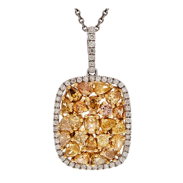 Yellow Diamond Mixed-Cut Cluster Style Two Color Gold Necklace