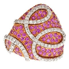 ORO TREND Pink Sapphire Diamond Rose Gold Designer Ring