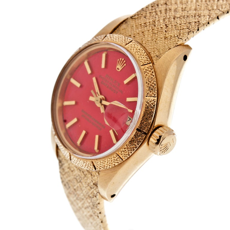 ROLEX All-Factory Lady's 'Stella' Red Enamel Dial Stylized Watch image 2