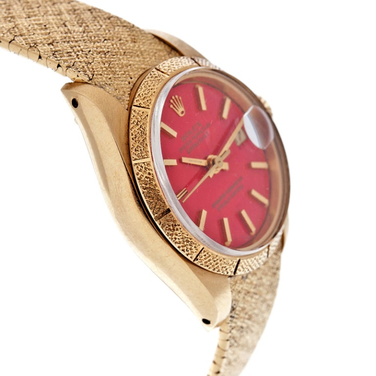 ROLEX All-Factory Lady's 'Stella' Red Enamel Dial Stylized Watch image 3