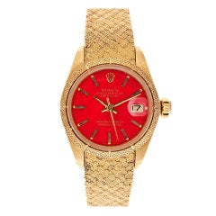 ROLEX All-Factory Lady's 'Stella' Red Enamel Dial Stylized Watch