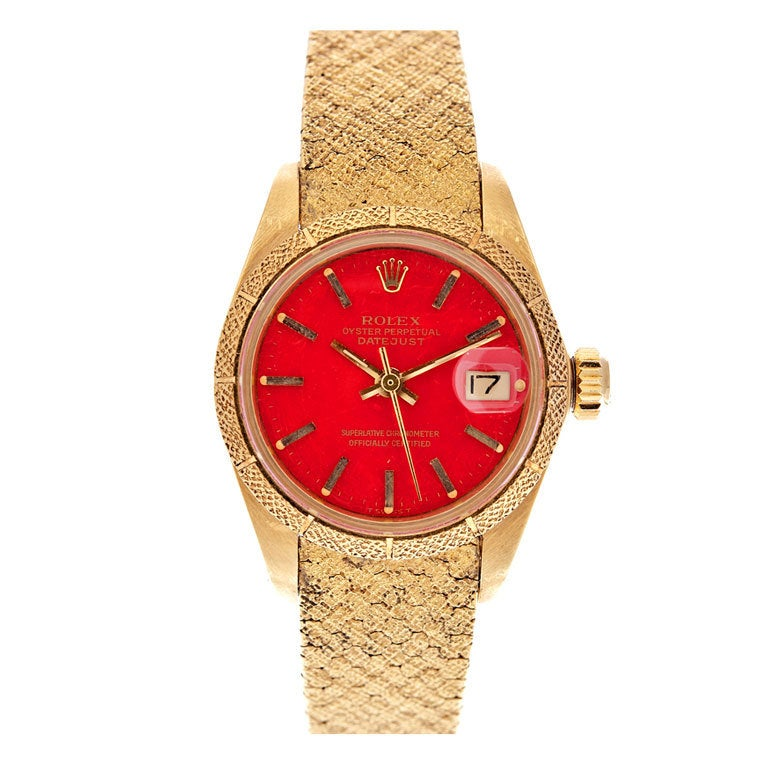 ROLEX All-Factory Lady's 'Stella' Red Enamel Dial Stylized Watch