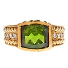 Judith Ripka Peridot Diamond Yellow Gold Ring