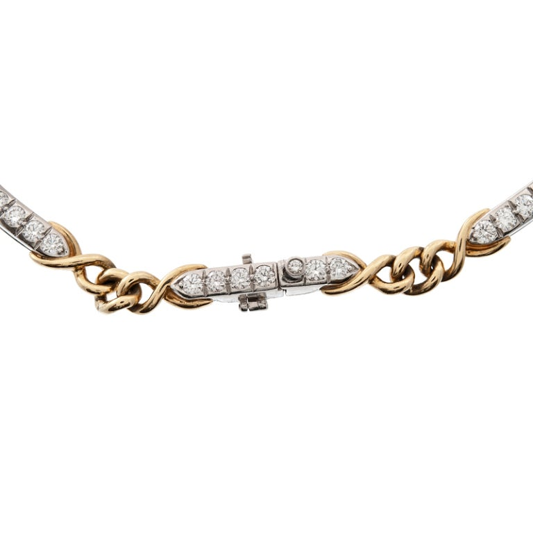 TIFFANY & Co Diamond Platinum Yellow Gold Chain/Link Necklace 2