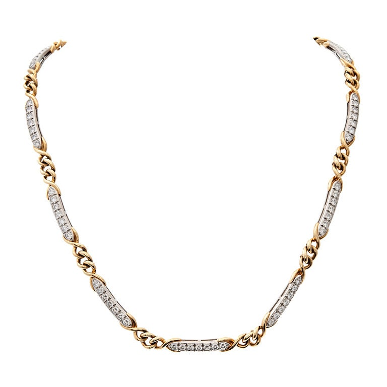 TIFFANY & Co Diamond Platinum Yellow Gold Chain/Link Necklace 1