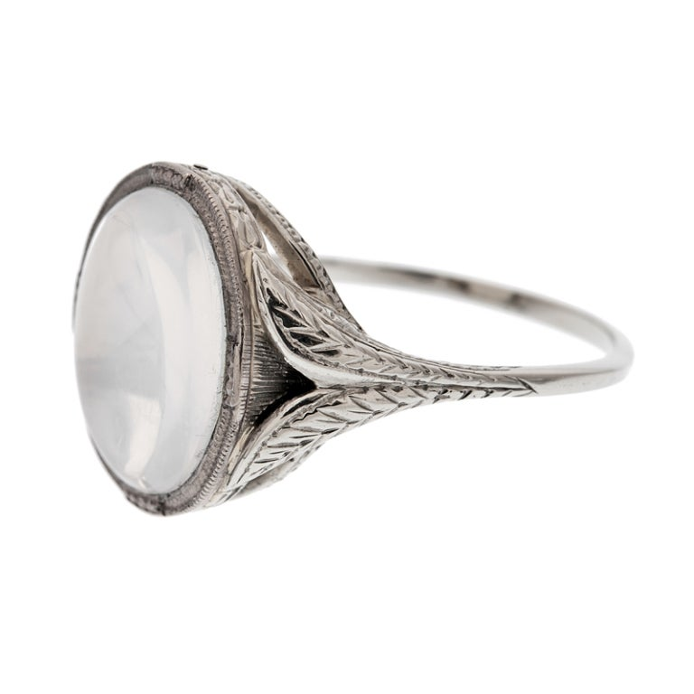 deco moonstone white gold ring at 1stdibs