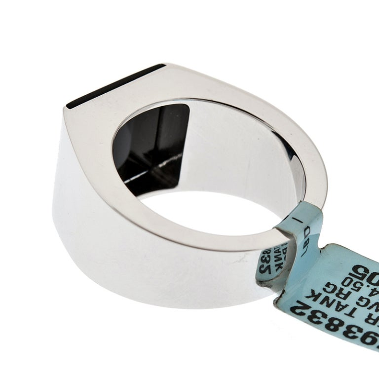 cartier quot tank quot onyx white gold ring original box at 1stdibs