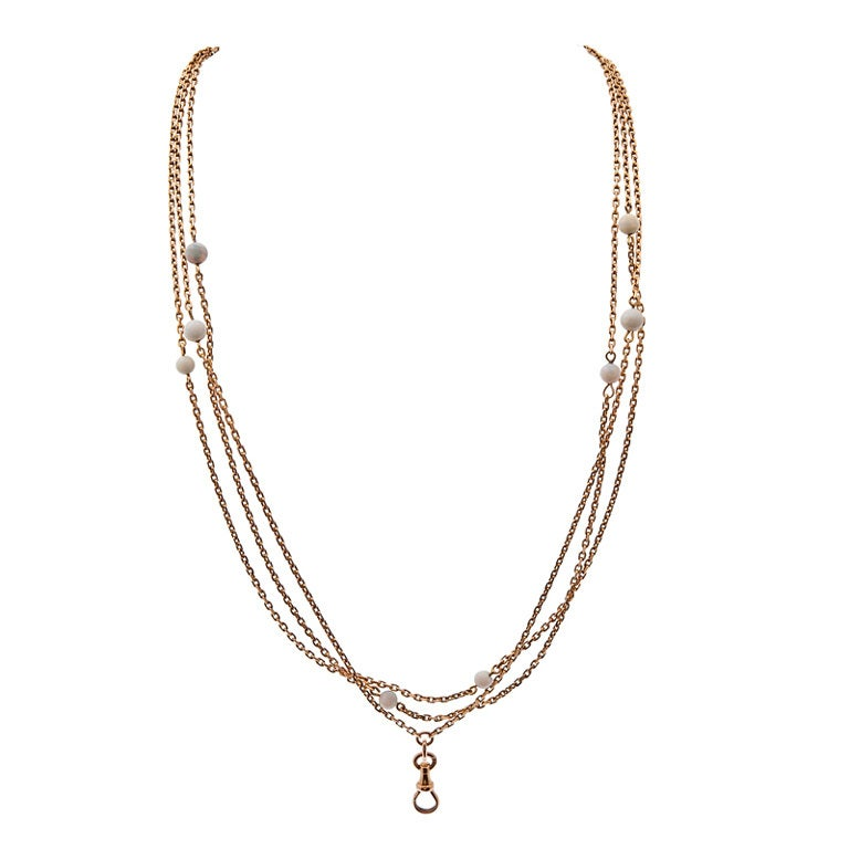 Victorian Opal Rose Gold Long Chain Necklace 1