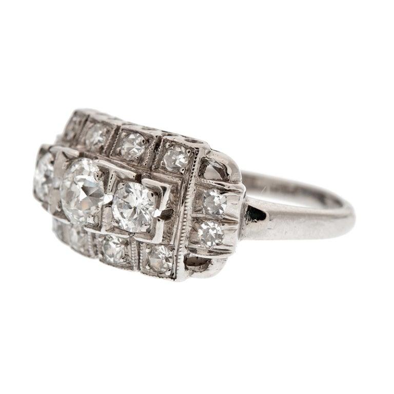deco unique three platinum ring at 1stdibs