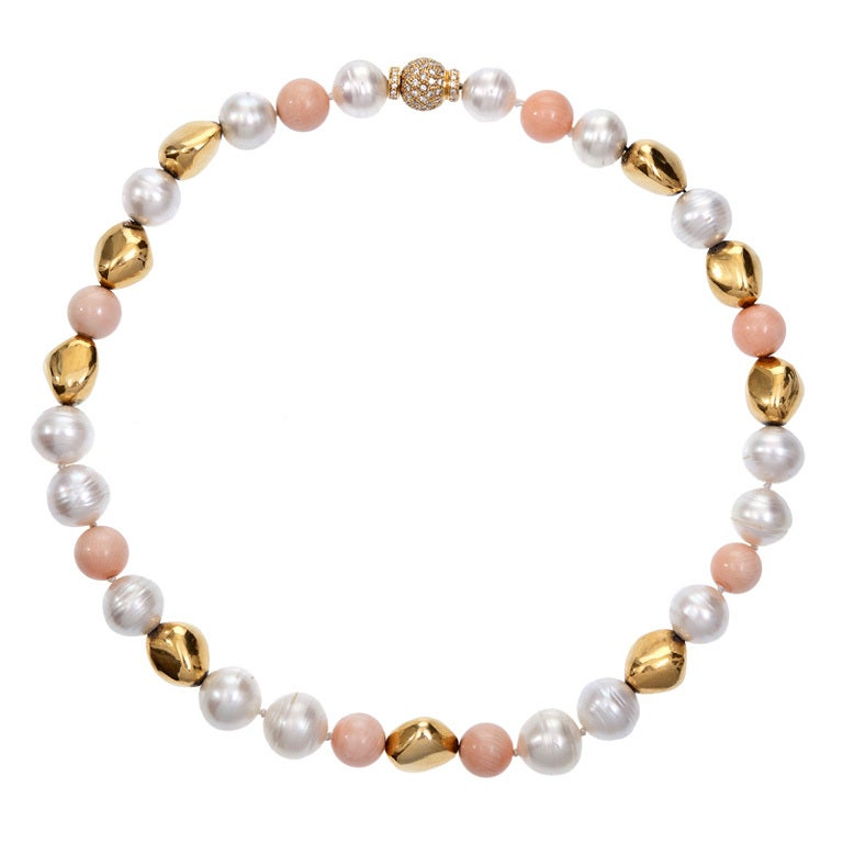Beaded Diamond: Pearl Coral Bead Diamond Yellow Gold Bead Necklace At 1stdibs