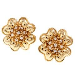 Craig Drake Diamond Large Yellow Gold Fine Flower Earrings