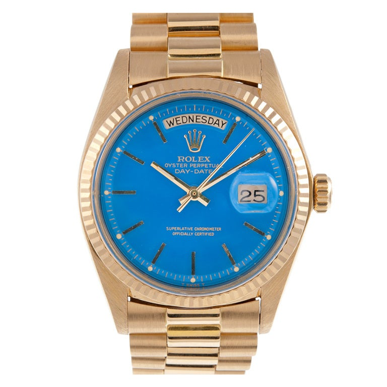 Rolex Stella Blue Dial Yellow Gold Day Date At 1stdibs