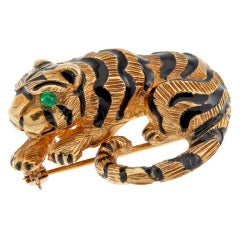 Gold Enamel Tiger Brooch