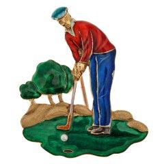 Pearl Enamel Gold Golfer Pin