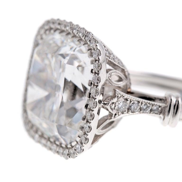 7 86 carat antique cushion cut platinum ring at