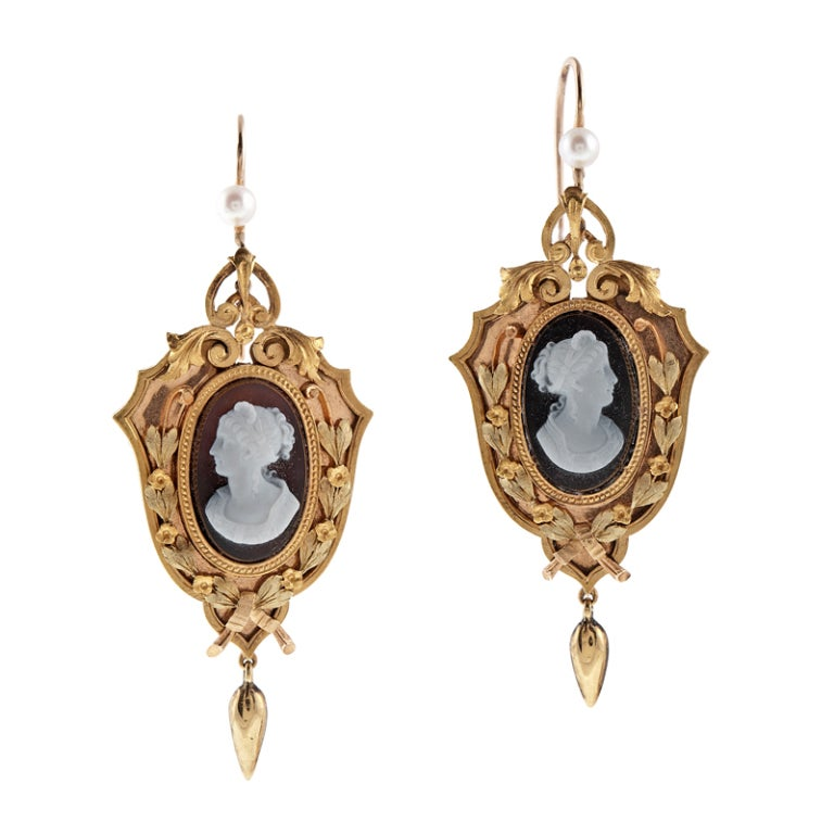 Agate Cameo Natural Pearl 'Tri-Gold' Victorian Pendant/Earrings 4