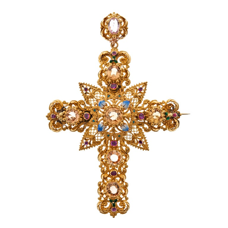 Magnificent Antique Multi Gem And Enamel Cross At 1stdibs